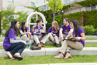 Group of students having a conversation
